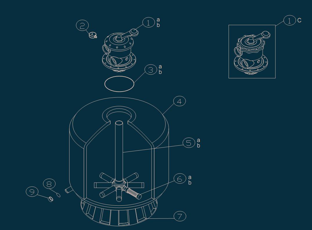 Parts for side-mount valve sand filter codes:040216-040256